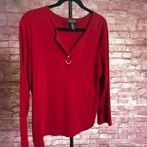 Lauren by Ralph Lauren. XL long sleeve red shirt